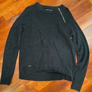 Navy Sweater with Accent Zipper